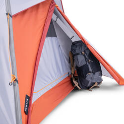 Trekking 3 Seasons Freestanding 3-Person Tent Trek 500 - Grey orange