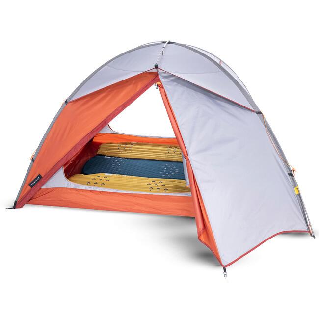 Trekking 3 Seasons Freestanding 3-Person Tent Trek 500 - Grey orange