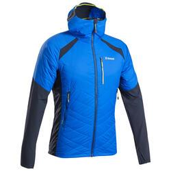 Hybride gewatteerde herenjas voor alpinisme Sprint blauw
