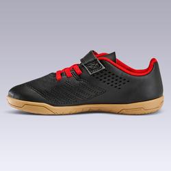 Zaalvoetbalschoenen kind Futsal 100 klittenband zwart/rood