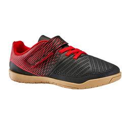 Kids' Futsal Trainers 100 - Black/Red (Rip-Tab)