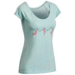 女款攀岩彈性短袖T恤-淺碧藍色