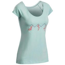 TEE-SHIRT D'ESCALADE STRETCH MANCHE COURTE FEMME- COULEUR TURQUOISE