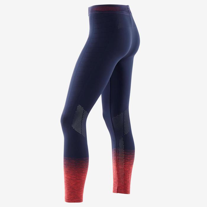 Ademende en technische legging voor gym meisjes S900 marineblauw/fluoroze