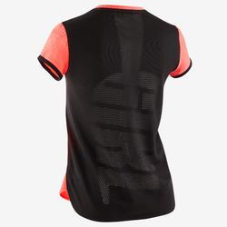 T-shirt respirant S580 fille GYM ENFANT rose fluo, dos noir