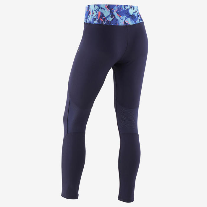 Girls' Breathable Synthetic Gym Leggings S500 - Navy Blue/Purple Print