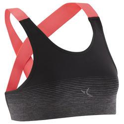 Ademend en technisch sporttopje voor gym S900 zwart met roze bandjes