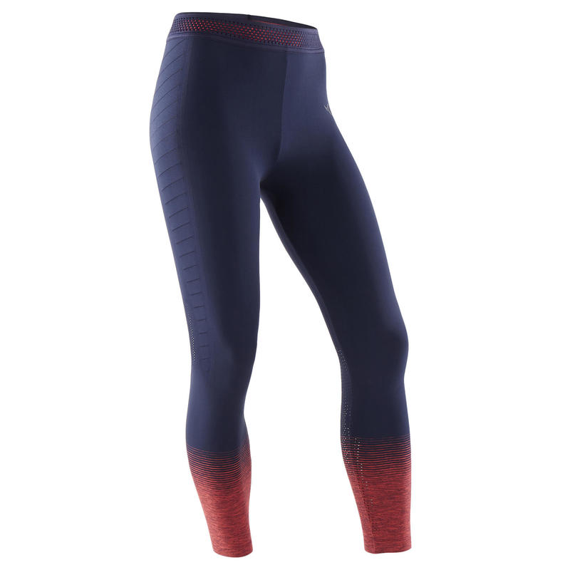 Girls' Breathable Technical Gym Leggings S580 - Navy Blue/Neon Pink Hem