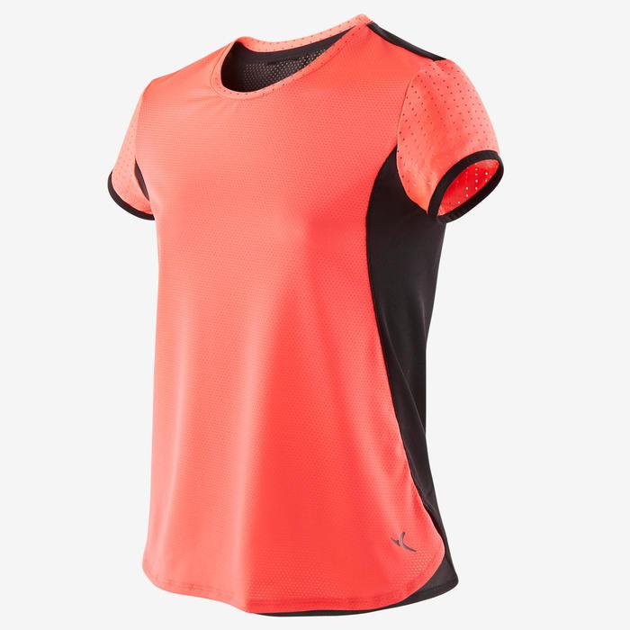 Camiseta transpirable S900 niña GIMNASIA INFANTIL rosa fluo, espalda negra