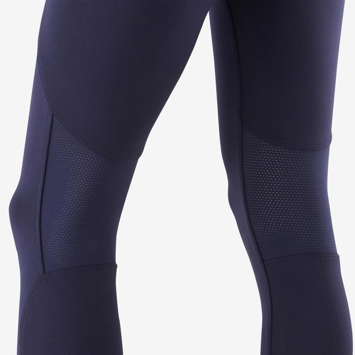 女童透氣合成健身緊身褲S500 - 軍藍色/紫色印花