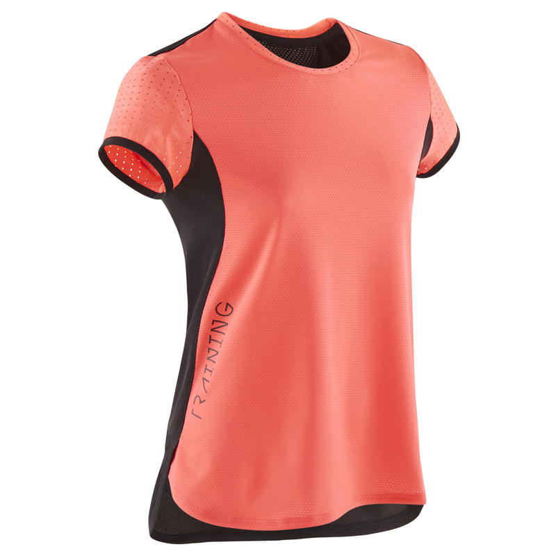 Girls' Breathable Gym T-Shirt S580 - Neon Pink/Black Back