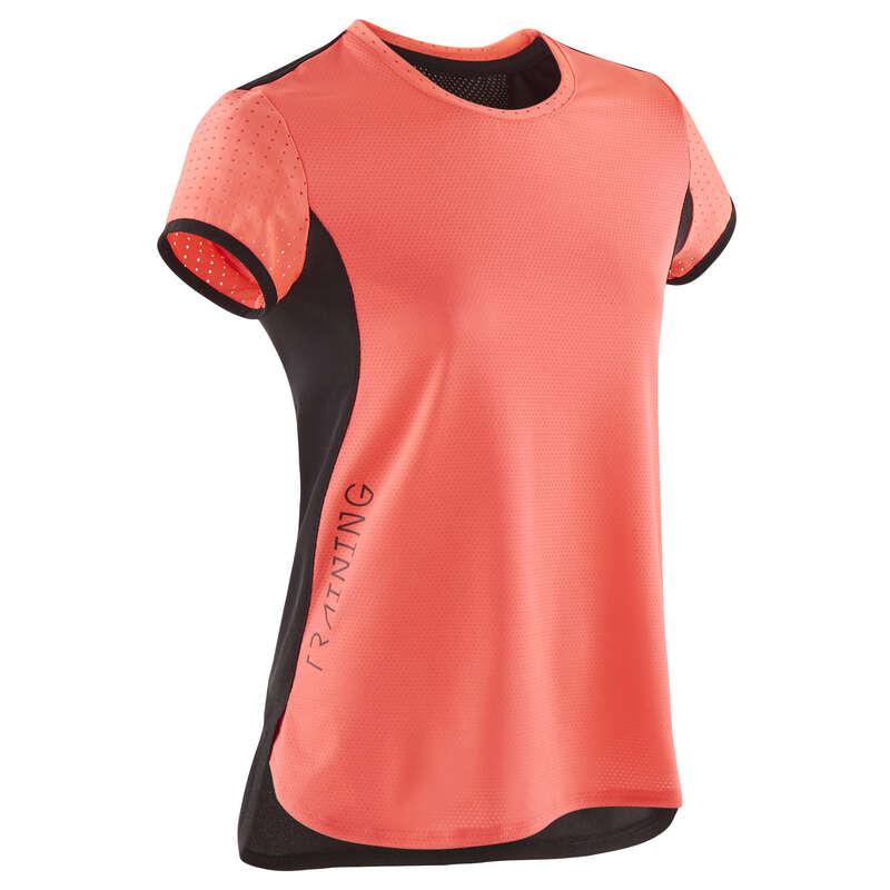 KLÄDER FÖR GYMPA JUNIOR Populärt - T-shirt S900 GYM JR rosa/svart DOMYOS - Överdelar