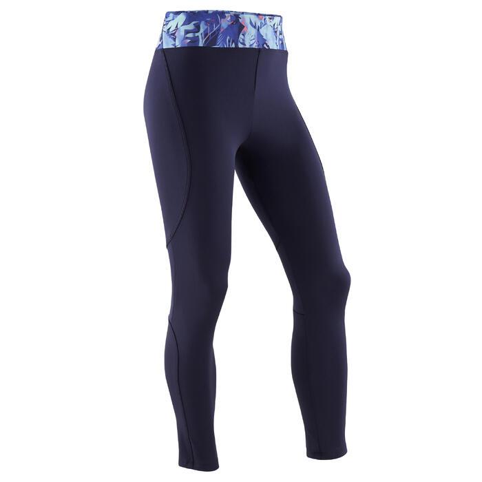 Legging synthétique respirant S500 fille GYM ENFANT bleu marine imprimé violet