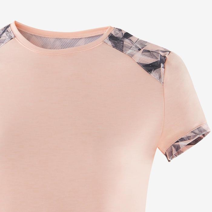T-shirt manches courtes respirant 500 fille GYM ENFANT rose clair imprimé épaule