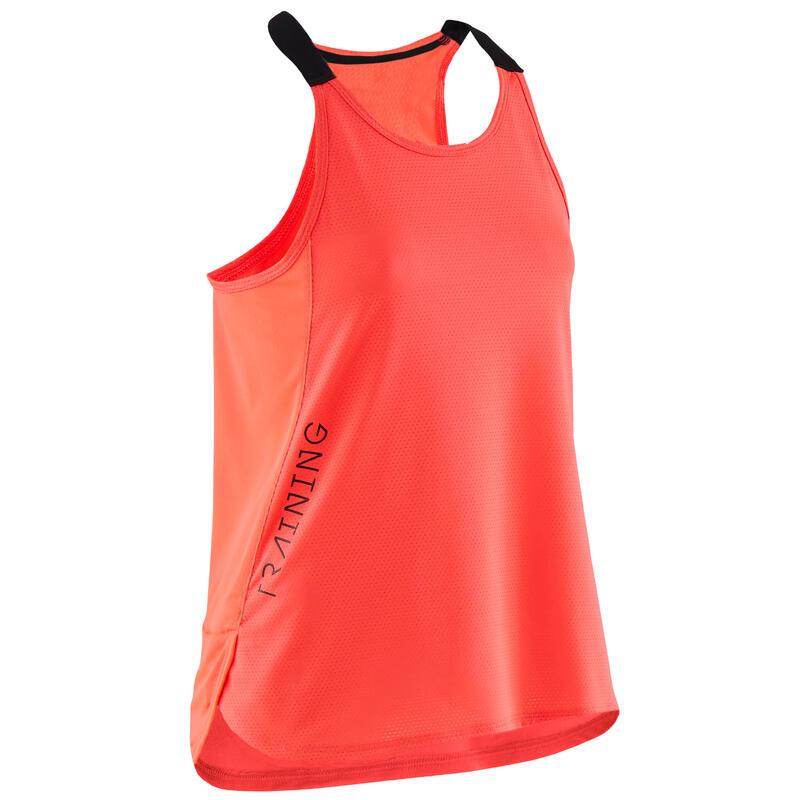 Ademend topje voor gym meisjes S580 fluoroze met zwarte bandjes