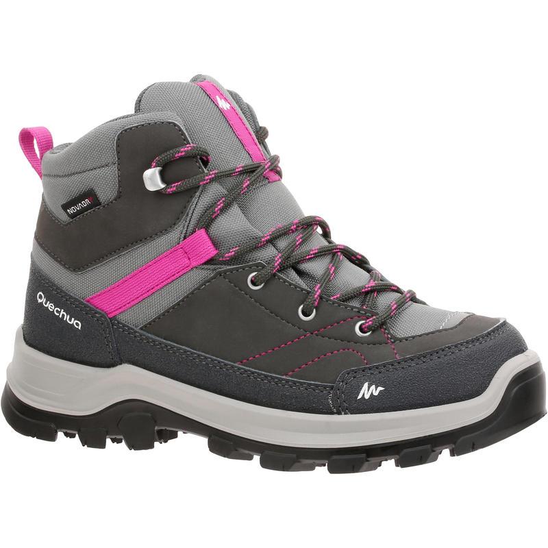 Chaussures de randonnée montagne enfant MH500  imperméables grises/rose 28-38