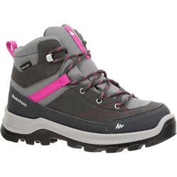 兒童款中筒防水登山健行鞋MH500-灰色/粉紅色