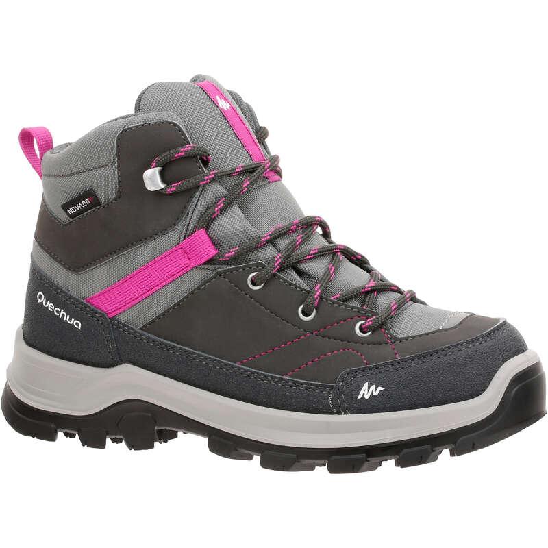 SHOES BOY Hiking - MH500 Kids Waterproof Walking Boots - Grey/Pink  QUECHUA - Outdoor Shoes