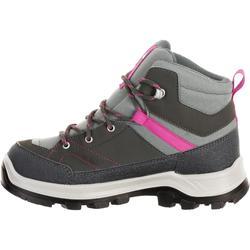 Chaussures de randonnée montagne enfant MH500 montantes imperméables grises/rose