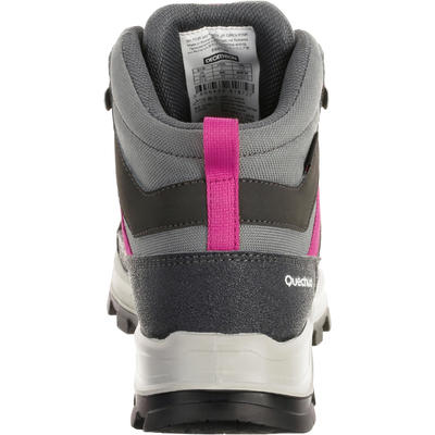 Kid's waterproof mountain walking shoes MH 500 - grey/pink 10-5