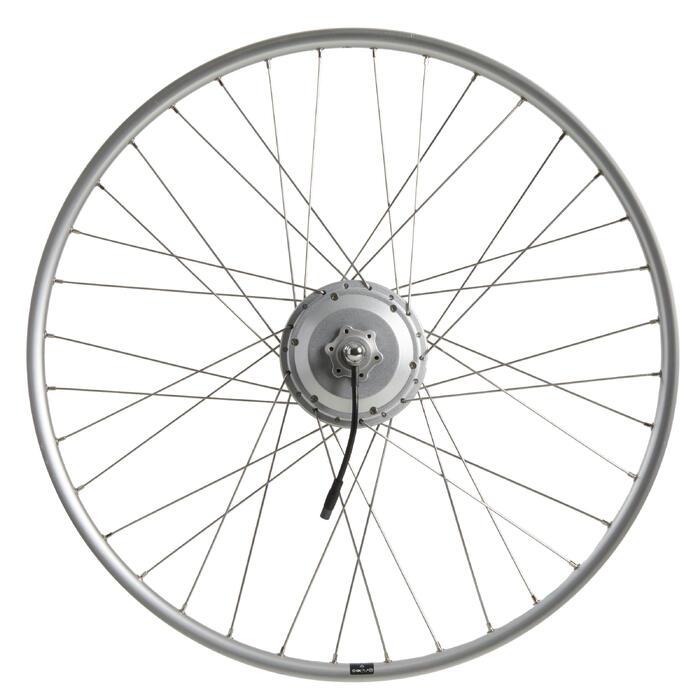 roue velo ville assistance electrique 28 pouces arrière double parois 36v argent