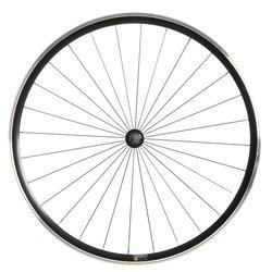 "Roda Dianteira Fixie28"" Parede Dupla Bicicleta Elops500 Enraiamento Radial Preto"
