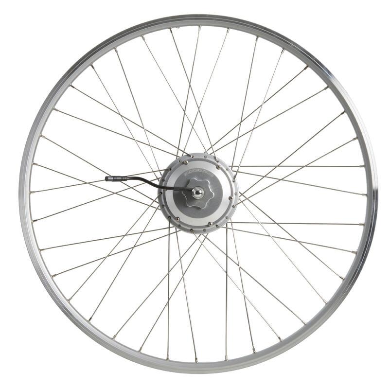 "Ruota post da 28"" motore, bici elettrica Elops500 doppia parete 24 volt argento"