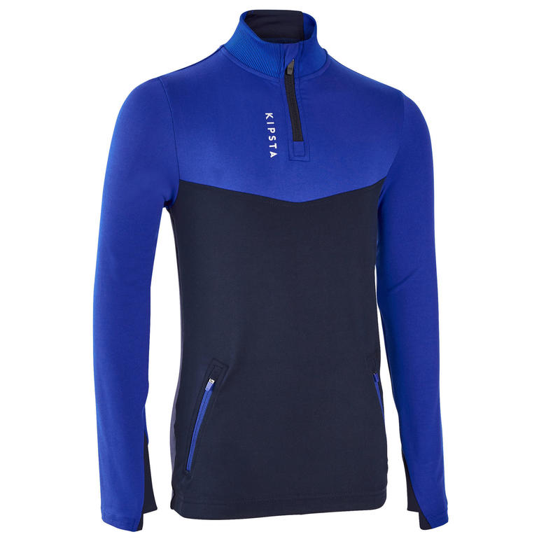 Kids' Football Half-Zip Training Sweatshirt T500 - Blue/Navy
