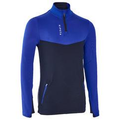 Trainingssweater met halve rits kinderen T500 blauw/marine
