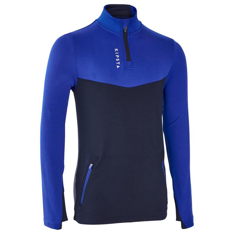 Bluză cu Fermoar Scurt Fotbal T500 Albastru Copii