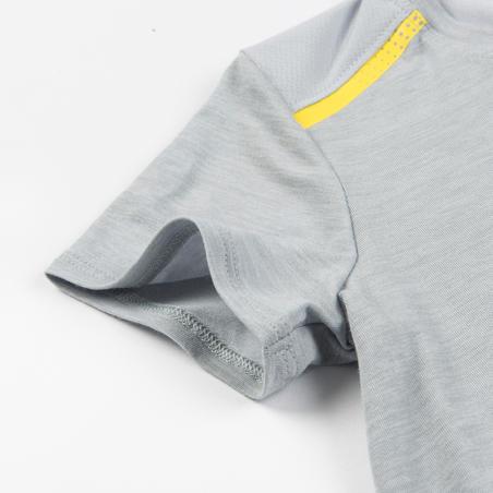T-Shirt Gym Bayi Laki-laki & Perempuan 500 - Abu-Abu/Kuning