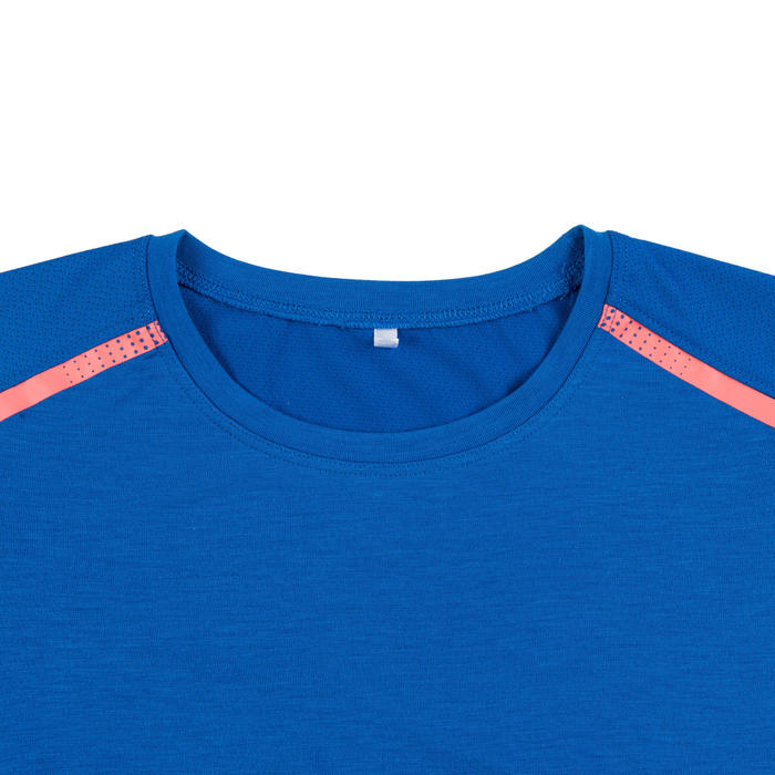 女童與男童嬰幼兒健身T恤500 - 藍色/珊瑚紅