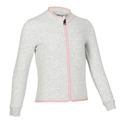 Girls' and Boys' Baby Gym Jacket 500 - Light Grey/Pink