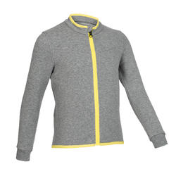 Girls' and Boys' Baby Gym Jacket 500 - Mid Grey/Yellow