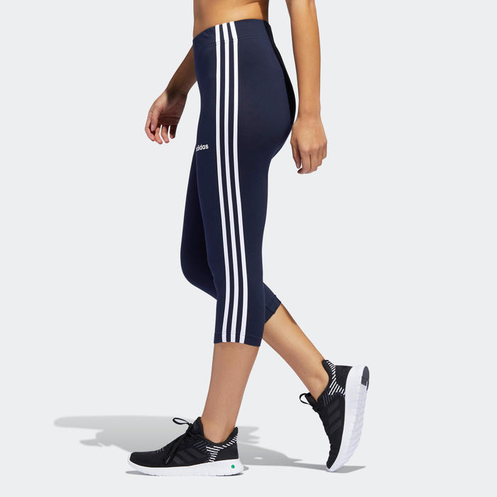 Corsaire Adidas ESSENTIALS 3 BANDES femme en coton bleu marine