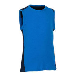 Boys' Breathable Cotton Gym Tank Top 500 - Blue