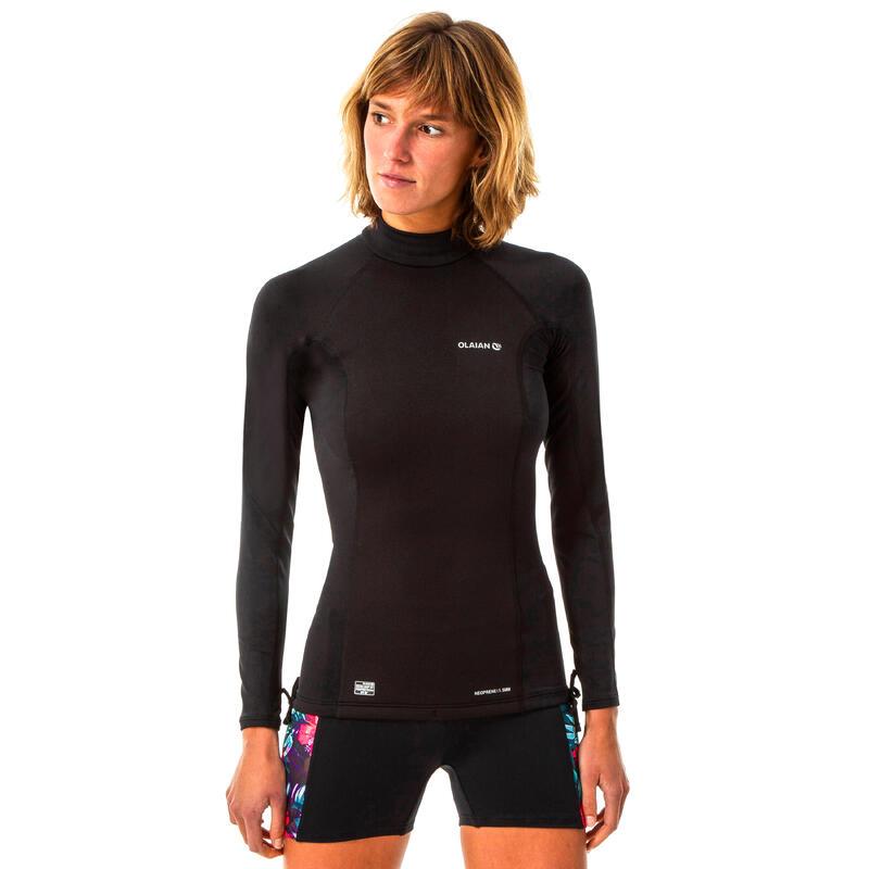 T-shirt anti-UV surf neoprene and fleece long sleeve women's black
