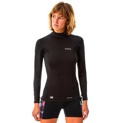 T-shirt anti-UV surf neoprene and fleece long sleeve women's black
