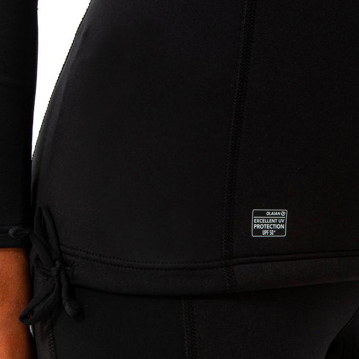 Tee shirt anti UV surf néoprène et polaire manches longues femme noir
