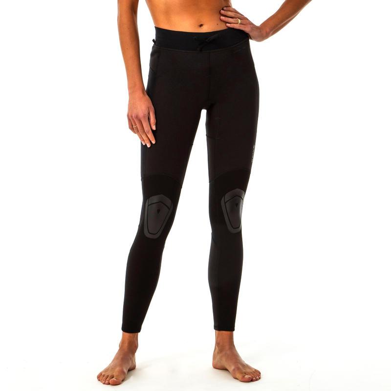 WOMEN'S ANTI-UV SURFING LEGGINGS 900 with NEOPRENE cutouts - BLACK