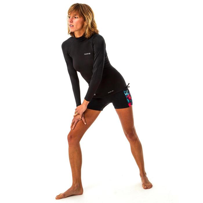Uv-werende thermische rashguard met lange mouwen voor surfen dames zwart