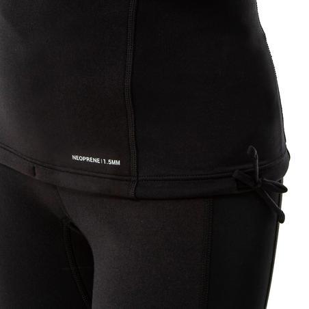 T-shirt selancar neoprene anti-UV dan lengan panjang wanita fleece hitam