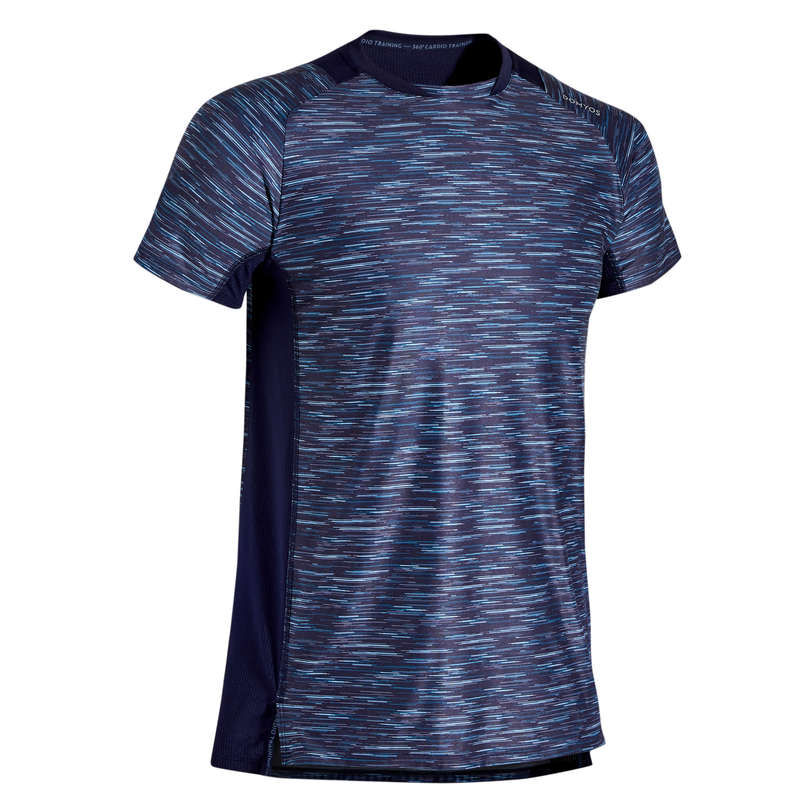 FITNESS CARDIO CONFIRMED MAN OUTFIT Fitness and Gym - T-Shirt FTS 500 S10 - Blue DOMYOS - Fitness and Gym