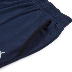 Boys' Wide Light Breathable Cotton Gym Bottoms 500 - Navy Blue