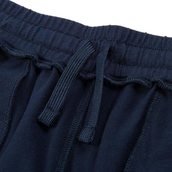 男童寬版輕盈透氣棉質健身長褲500 - 軍藍色