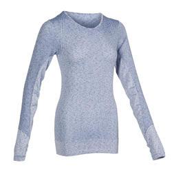 女款動態瑜珈T恤 - 藍色
