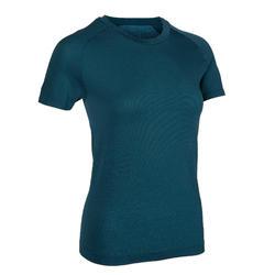 女款修身瑜珈T恤 - 藍綠色