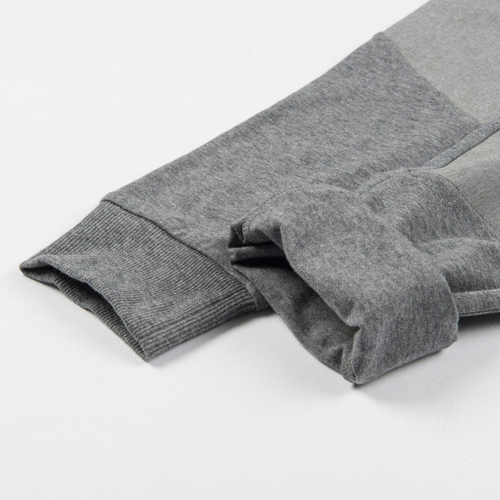 Boys' Wide Light Breathable Cotton Gym Bottoms 500 - Grey
