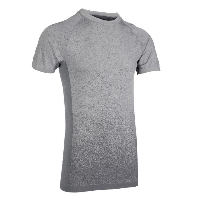 Seamless Short-Sleeved Dynamic Yoga T-Shirt - Black/Grey