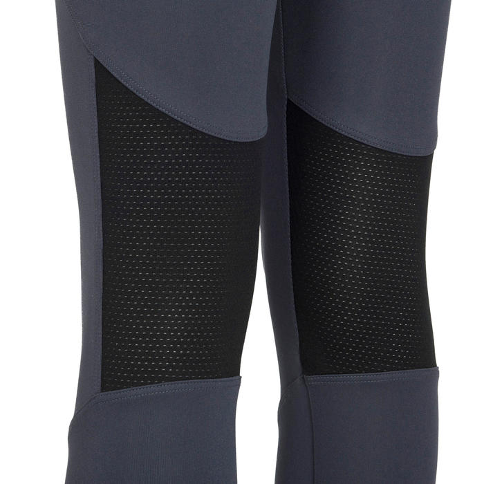 女童合成材質透氣健身七分褲S500 - 素面黑色